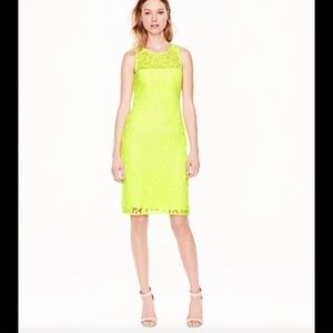 J. Crew Yellow Lace Sheath Dress Size 0